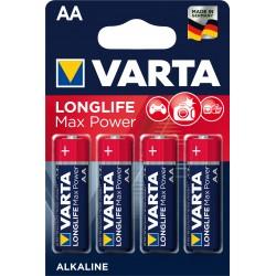 4 Piles alcalines LR06 - AA – 1,5V Varta Longlife Max Power en blister