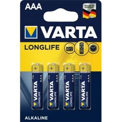 Piles alcalines LR03 - AAA Varta Longlife (blister de 4)