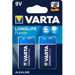 Piles alcalines 6LR61 - 9V Varta High Energy (blister de 2)
