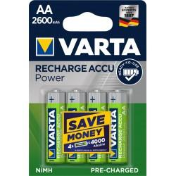 Piles rechargeables AA - HR6 - 2600mAH prêtes à l'emploi (blister de 4)