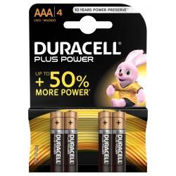 Piles alcalines LR03 - AAA Duracell plus (blister de 4)
