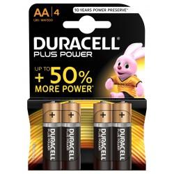 Piles alcalines LR06 - AA – 1,5V Duracell plus (blister de 4)