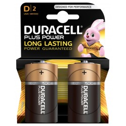 Piles alcalines LR20 - D – 1,5V Duracell Plus (blister de 2)