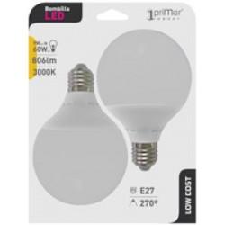 2 ampoules LED globe E27 9W en blister