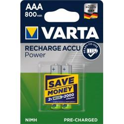 Piles rechargeables AAA - HR3 - 800mAH prêt à l'emploi. (blister de 2)