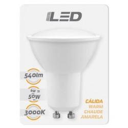 Ampoule LED GU10 6W 3000K en blister - HIDALGO'S