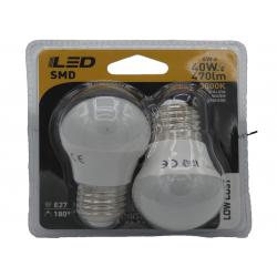 2 ampoules LED standard  E27 6W 3000K en blister - HIDALGO'S