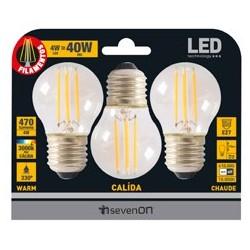 3 ampoules LED FILAMENT E27 4W 3000K en blister - HIDALGO'S