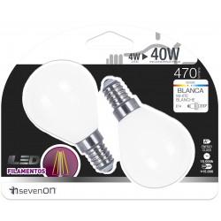 2 ampoules LED FILAMENT E14 4W 4000K en blister - HIDALGO'S