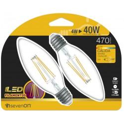 2 ampoules LED FILAMENT FLAMME E14 4W 2700K en blister - HIDALGO'S