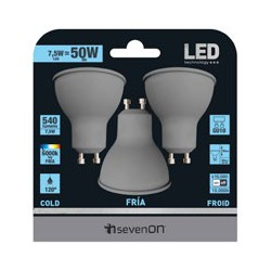 3 ampoules LED GU10 7.5W 6000K en blister - HIDALGO'S
