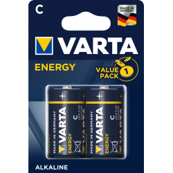 2 Piles alcalines LR14 - C – 1,5V Varta ENERGY en blister