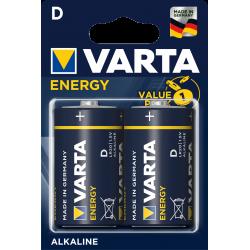 2 Piles alcalines LR20 - D – 1,5V Varta ENERGY en blister